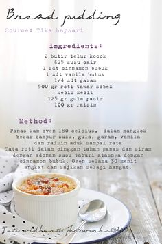 cooking is cool Pudding Desserts, Pudding Recipes, Indonesian Food Traditional, Kitchen Recipes, Cooking Recipes, Chocolate Garnishes, Diy Food, Lunch Recipes, Cooking Time
