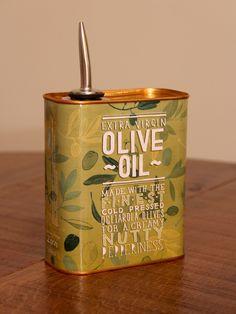 Extra Virgin Olive Oil can packaging design for Italian restaurant chain Zizzi. Design by Tobias Hall. Food Packaging Design, Packaging Design Inspiration, Retro Packaging, Seed Packaging, Olives, Olive Oil Brands, Olive Oils, Olive Oil Packaging, Olive Oil Bottles