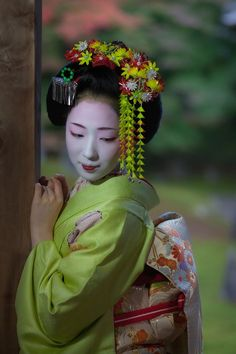 maiko mamefuji. Momiji tsumami kanzashi.  Autumn leaves hair pin. Tsunagi-dango…