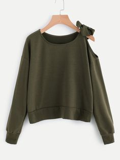 #ROMWE - #ROMWE Open Shoulder Self Tie Sweatshirt - AdoreWe.com