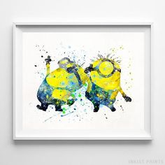 Two Minions Despicable Me Wall Art Ghibli Watercolor Poster Baby Room UNFRAMED - Click photo for details - Home Decor Minions Love, Minions Despicable Me, Funny Minion, Watercolor Disney, Watercolor Artwork, You Draw, Pics Art, Wall Art Prints, Lego