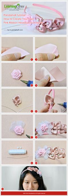 Tutorial on How to Create Your Own Pink Ribbon Headband at Home from LC.Pandahall.com #pandahall