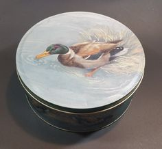 Vintage Mallard Duck Biscuits or Candy Round Storage Tin https://treasurevalleyantiques.com/products/vintage-mallard-duck-biscuits-or-candy-round-storage-tin #Wildlife #Candy #Ducks #Biscuits #VintageTins #Vintage