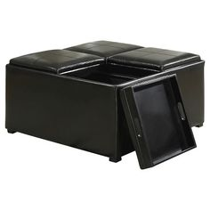 Simpli Home Avalon Coffee Table Storage Ottoman with 4 Serving Trays - Black