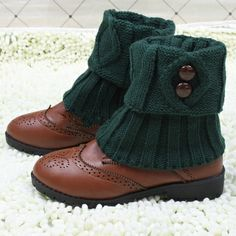 Plaid leg warmers fastener boots socks Knit Boot Cuff with button $12.90