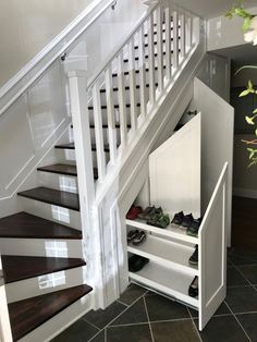 Shoe storage under stairs, under basement stairs, stairway storage, Shoe Storage Under Stairs, Under Stairs Storage Solutions, Stairway Storage, Under Stairs Cupboard, Closet Under Stairs, Basement Storage, Under The Stairs, Under Staircase Ideas, Attic Storage