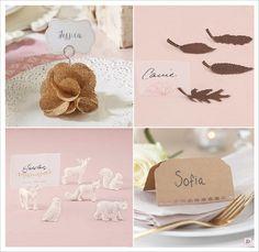 marque place mariage rustique porte nom marque place toile de jute animaux carton kraft feuille arbre