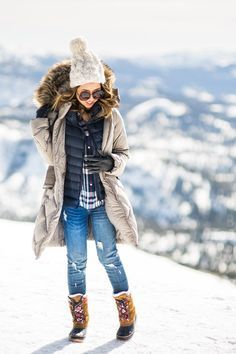 petite fashion blog, lace and locks, los angeles fashion blogger, cute winter outfit, plaid shirt, down vest, cute parka for women, snow outfit for women, cute snow boots for women