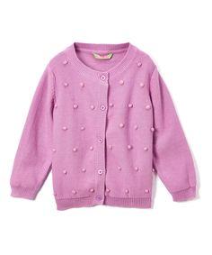 Pink Textured Dot Cardigan - Infant Toddler & Girls