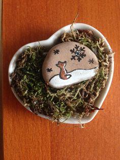 Christmas stone art fox