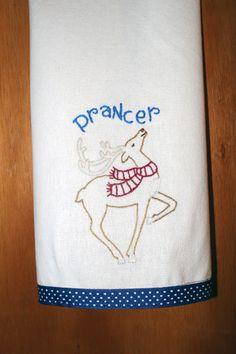 Hand Embroidered Dish Towel   Christmas  by AGrandmasTreasures