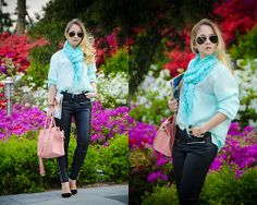 Sheinside Blouse, Oasap Bag, Oasap Heels, Forever 21 Scarf, Asos Sunglasses - Well, flowers everywhere - Olga Choi