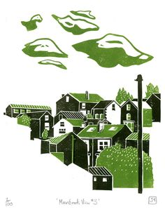 Meersbrook View No.3 ~ linocut print ~ James Green