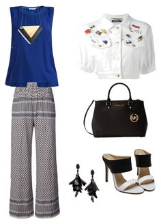"""""""Blue and white"""" by oespinal on Polyvore featuring moda, CECILIE Copenhagen, J.Lindeberg, Moschino, Michael Kors y Oscar de la Renta"""
