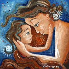 Endearing mother and child Archival signed by kmberggren Mother And Child Painting, Painting For Kids, Art For Kids, Arte Tribal, Mothers Love, Illustration, Art Decor, Room Decor, Original Paintings