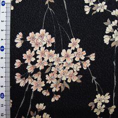 Japanese kimono cotton fabric sakura printed by HanamiBoutique, $7.00