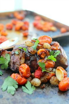 Bacon Wrapped Top Sirloins with Balsamic Pearl Onions and Burst Cherry Tomatoes — aka bliss. 😍    Get the full recipe: http://steakbytes.com/recipes/omaha-steaks-bacon-wrapped-top-sirloins-with-balsamic-pearl-onions-and-burst-cherry-tomatoes/