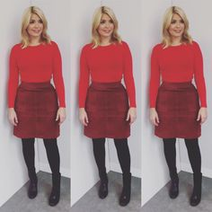 """Holly Willoughby na Instagramie: """"Today's look on @thismorning skirt by @marksandspencer #twiggy top by @oasisfashion and boots by @marksandspencer ❤️"""" • Instagram"""