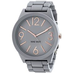 Nine West Women's NW/1678GYRG Gray Rubberized Watch with Link Bracelet (£24) ❤ liked on Polyvore featuring jewelry, watches, accessories, bezel watches, bracelet jewelry, nine west watches, nine west and analog wrist watch