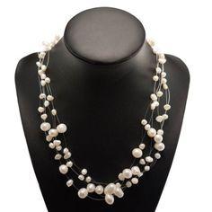 Collier de perles flottantes sur six rangs - Ganda.fr