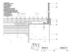 Стівен Холл Архітектори |  Сіте де l'Océan і ін дю Surf Steven Holl, Detail Architecture, Architecture Plan, Wall Section Detail, Glass Balustrade, Glass Railing, Concrete Facade, Construction Drawings, Roof Detail