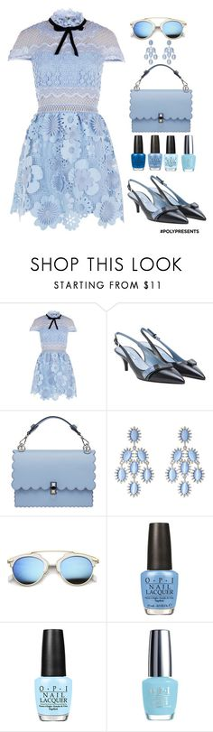 """""""#PolyPresents: Party Dresses"""" by shamrockclover ❤ liked on Polyvore featuring self-portrait, Prada, Fendi, Kenneth Jay Lane, ZeroUV, OPI, contestentry and polyPresents"""
