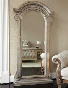 Jessica McClintock Mirrored Jewelry Safe - A stately seven-foot floor mirror offers a concealed treasure trove of your coveted heirlooms behind European architecture. - $1,695.00