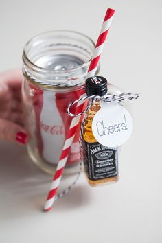 Jack and Coke in a mason jar! /// 10 Genius Mason Jar Gift Ideas
