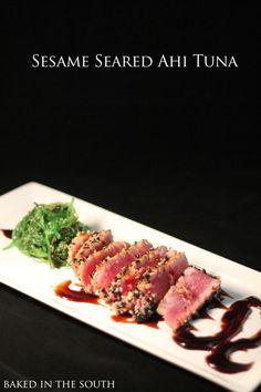 Sesame Seared Ahi Tuna – Baked in the South Ahi Tuna Recipe Baked, Ahi Tuna Sauce, Tuna Marinade, Tuna Steak Recipes, Fish Recipes, Seafood Recipes, Asian Recipes, Healthy Recipes, Recipe Marinade