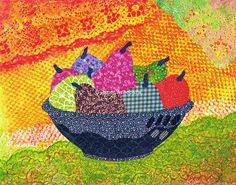 Festive Fruit Print by JanetAnteparaDesigns on Etsy, $28.00 Festive Fruit Art Print. Festive Fruit is a mixed media piece with fabric fruits against a festive colorful background. #art #artprint #wallart #11x14print #kitchenart #kitchendecor #festive #coloful #mexican #fiesta #fruitbowl #fuit #fabric #textiles #Etsy