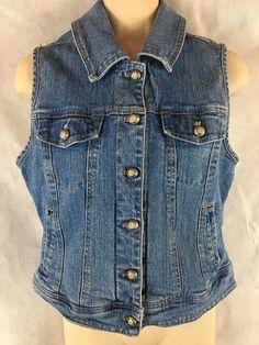 Dressbarn Denim Blue Jean Button Vest Size M Cotton/Spandex #dressbarn