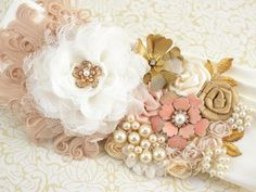 Bridal Sash Wedding Sash in Ivory, Blush and Gold with Brooches, Feathers and Pearls- Vintage Inspired on Etsy, $230.00