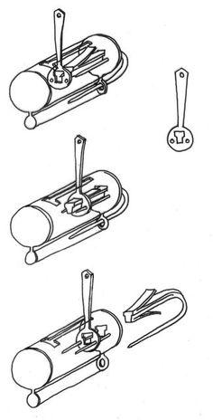 Historical Locks. Viking Era, 800-1050.  Viking-Era padlock, reconstruction --Sketch of a Viking-Era padlock with springs and push key