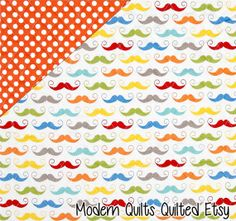 White Geeky Mustache Rainbow Hipster Nerd by ModernQuiltsQuilted, $40.00