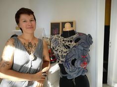 In Valenciennes, she created Anatomic Jane, knit jewelry inspired by viscera - World Today News News Today, Anatomy, Dreadlocks, Ruffle Blouse, Inspired, Knitting, Hair Styles, Inspiration, Beauty