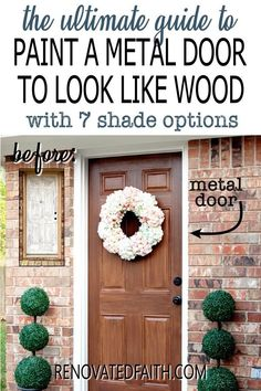 Tired of having an ugly metal or fiberglass front door? The entrance of your home is the first impression which makes painting wood grain on a steel door a budget-friendly way to upgrade - if it's done right! This easy step-by-step tutorial with video will show you how to make a metal door look like stained wood with latex paint samples and glaze! This process is also great for interior doors, fiberglass doors and even garage doors. Also, you can apply a more rustic farmhouse other shades Stained Front Door, Painted Front Doors, Door Furniture, Chalk Paint Furniture, Furniture Ideas, Garage Door Paint, Garage Doors, Home Renovation, Front Door Hardware