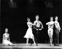 Laura Connor, Ann Jenner, David Wall (b.1946), Rudolf Nureyev (1938-93) and Anthony Dowell (b.1943) in Chopin's Dances at Gathering by the Royal Ballet at the Royal Opera House, photo Anthony Crickmay (b.1937). Choreography by Jerome Robbins (1918-98). Black and white photography. London, England, 1970.