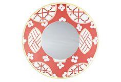 One Kings Lane - Eye to the East - Small Canton Round Mirror, Orange