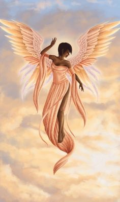 Black Art Pictures, Angel Pictures, African American Art, African Art, Black Love Art, Black Angels, Black Artwork, Angels In Heaven, Heavenly Angels