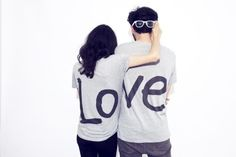 Fashion Foie Gras: Fashion for couples. new LOVE t-shirt from The LOFT design by Matching Couple Shirts, Couple Tshirts, Matching Couples, Matching Outfits, Cute Couples, Swag Couples, Matching Sweaters, Romantic Love Couple, Romantic Moments
