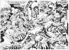 A great OMAC double page spread from issue 6. Jack Kirby inked by D. Bruce Berry.
