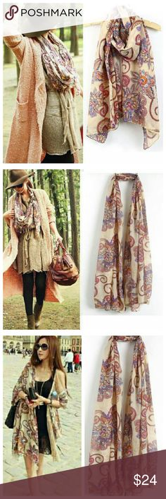 """Gorgeous floral lightweight scarf pashmina sarong Gorgeous scarf to wear with so many things and so many ways Would be cute as swim sarong Lt grey with magenta purple blue orange floral 62"""" x 29"""" Accessories Scarves & Wraps"""