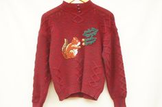 Vintage 80's-90s Red Knit Squirrel and Acorn by SycamoreVintage