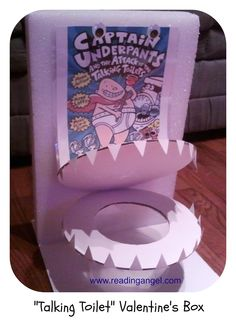 "Son's Literary Valentine's Box - Captain Underpants Talking Toilet - ""Yum Yum Eat em Up"" Valentine Boxes For School, Kinder Valentines, Valentine Crafts For Kids, Valentines For Boys, Valentines Day Decorations, Valentine Day Crafts, Captain Underpants, Animals For Kids, Holiday Fun"