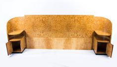 Antique Art Deco Headboard & bedside cabinets C1930 2