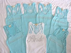 7 Bridesmaid Lace Tank Top Shirts. Bride, Maid of Honor, Matron of Honor. Tiffany Blue, Black, White, Purple, Pink, Fuchsia