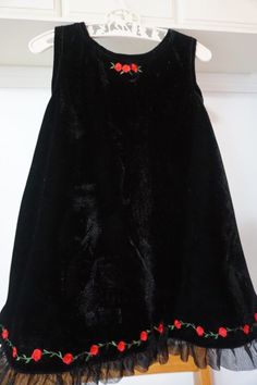 Wonder Kids black velvet w/red rose dress 18 mo. Holiday/Christmas  #WonderKids #Holiday