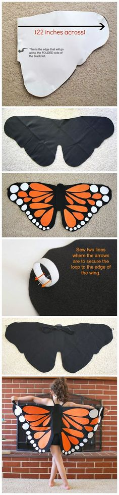 Felt Monarch Butterfly Wings - could be interpreted for dragon wings as well