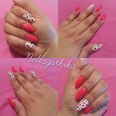 Pink and black polka dot stilleto nails #stiletto #nails