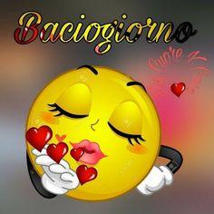 Baciogiorno #buongiorno Kiss Emoji, Animated Emoticons, Make Him Miss You, Italian Memes, Love You Gif, Emoji Love, Emoji Images, Good Night Wishes, Smileys